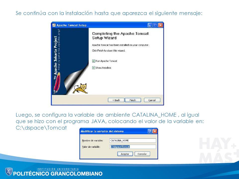 Se continúa con la instalación hasta que aparezca el siguiente mensaje: Luego, se configura la variable de ambiente CATALINA_HOME, al igual que se hizo con el programa JAVA, colocando el valor de la variable en: C:\dspace\Tomcat