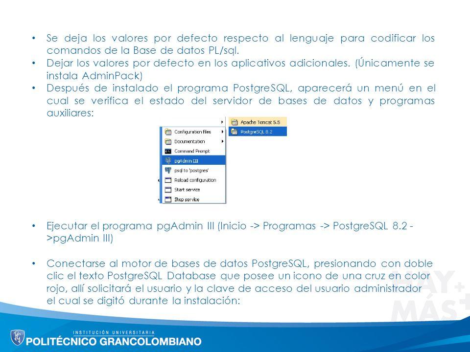 Se deja los valores por defecto respecto al lenguaje para codificar los comandos de la Base de datos PL/sql.