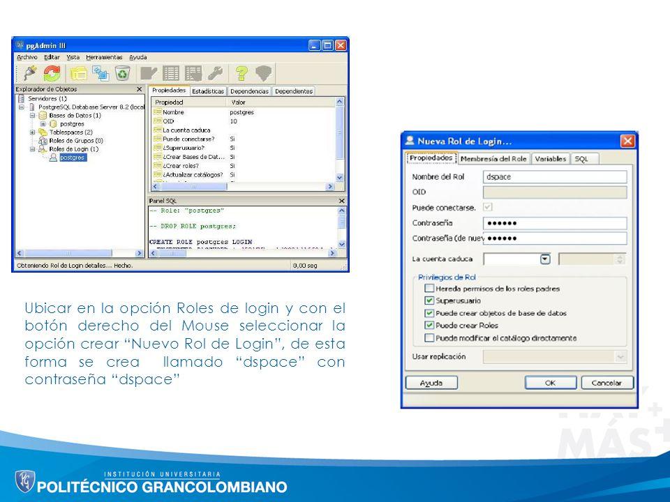 Ubicar en la opción Roles de login y con el botón derecho del Mouse seleccionar la opción crear Nuevo Rol de Login, de esta forma se crea llamado dspace con contraseña dspace