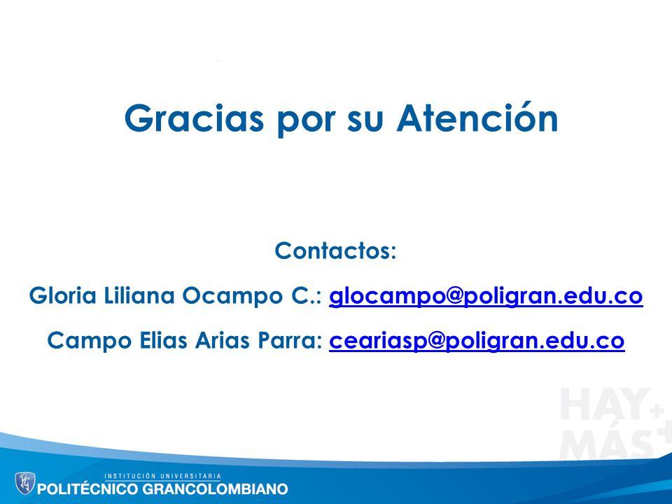 Gracias por su Atención Contactos: Gloria Liliana Ocampo C.: glocampo@poligran.edu.coglocampo@poligran.edu.co Campo Elias Arias Parra: ceariasp@poligr