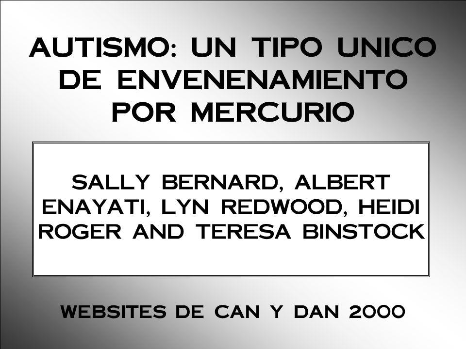 SALLY BERNARD, ALBERT ENAYATI, LYN REDWOOD, HEIDI ROGER AND TERESA BINSTOCK AUTISMO: UN TIPO UNICO DE ENVENENAMIENTO POR MERCURIO WEBSITES DE CAN Y DA