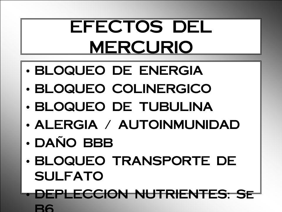 EFECTOS DEL MERCURIO BLOQUEO DE ENERGIA BLOQUEO COLINERGICO BLOQUEO DE TUBULINA ALERGIA / AUTOINMUNIDAD DAÑO BBB BLOQUEO TRANSPORTE DE SULFATO DEPLECC