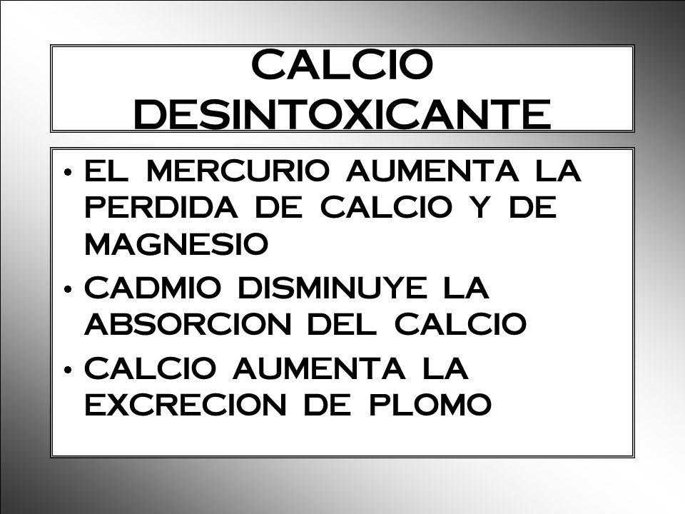 CALCIO DESINTOXICANTE EL MERCURIO AUMENTA LA PERDIDA DE CALCIO Y DE MAGNESIO CADMIO DISMINUYE LA ABSORCION DEL CALCIO CALCIO AUMENTA LA EXCRECION DE P