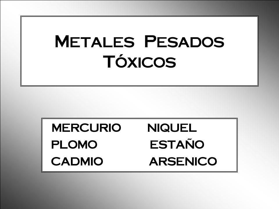 Metales Pesados Tóxicos MERCURIO NIQUEL PLOMO ESTAÑO CADMIO ARSENICO