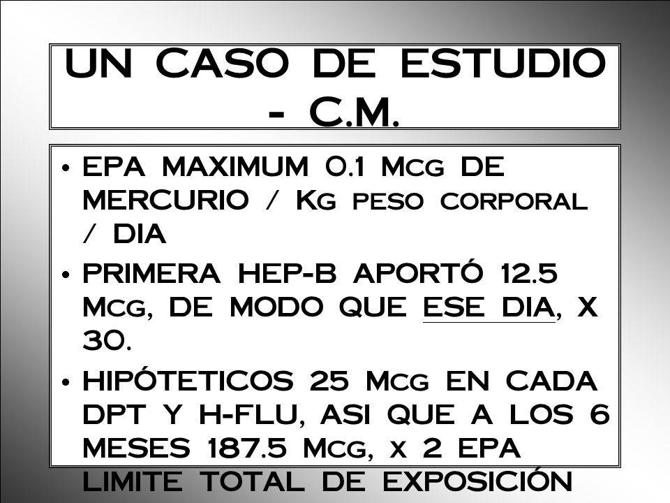 UN CASO DE ESTUDIO - C.M. EPA MAXIMUM 0.1 Mcg DE MERCURIO / Kg peso corporal / DIA PRIMERA HEP-B APORTÓ 12.5 Mcg, DE MODO QUE ESE DIA, X 30. HIPÓTETIC