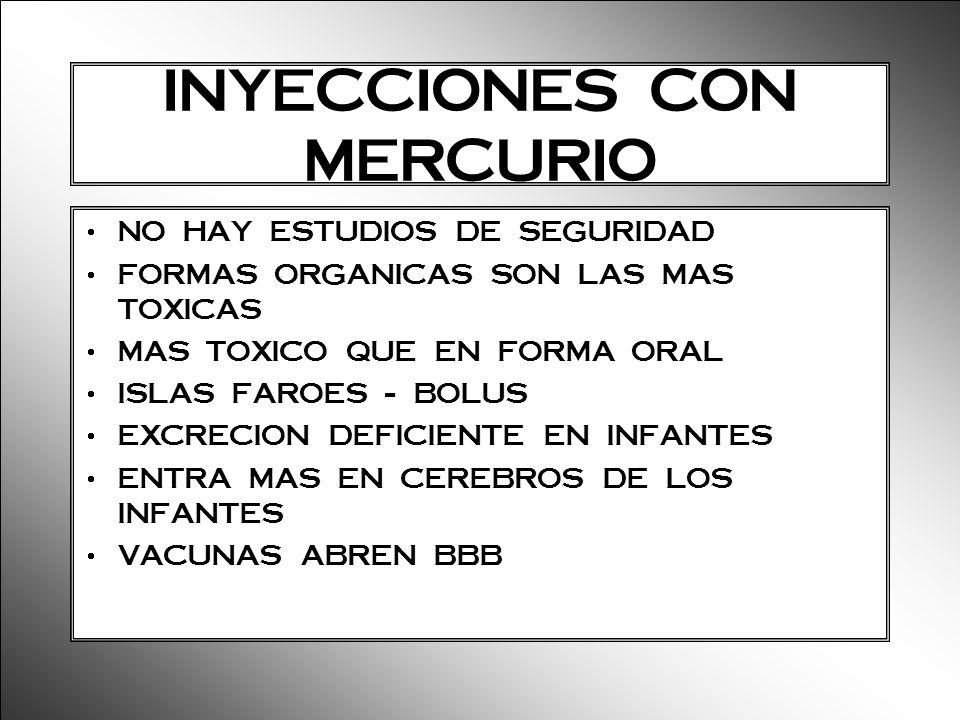 INYECCIONES CON MERCURIO NO HAY ESTUDIOS DE SEGURIDAD FORMAS ORGANICAS SON LAS MAS TOXICAS MAS TOXICO QUE EN FORMA ORAL ISLAS FAROES - BOLUS EXCRECION