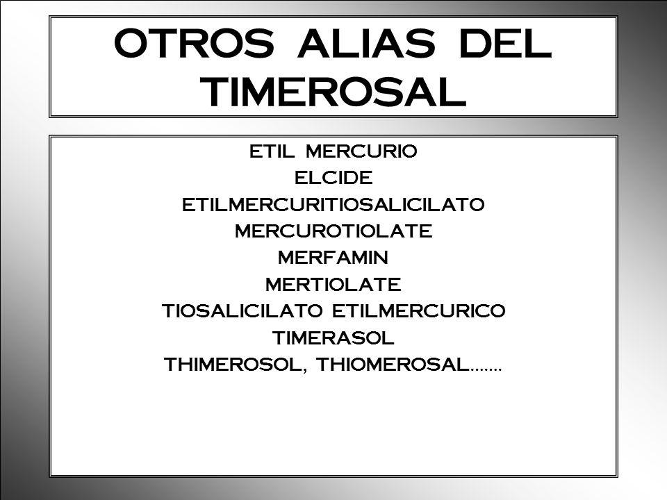 OTROS ALIAS DEL TIMEROSAL ETIL MERCURIO ELCIDE ETILMERCURITIOSALICILATO MERCUROTIOLATE MERFAMIN MERTIOLATE TIOSALICILATO ETILMERCURICO TIMERASOL THIME