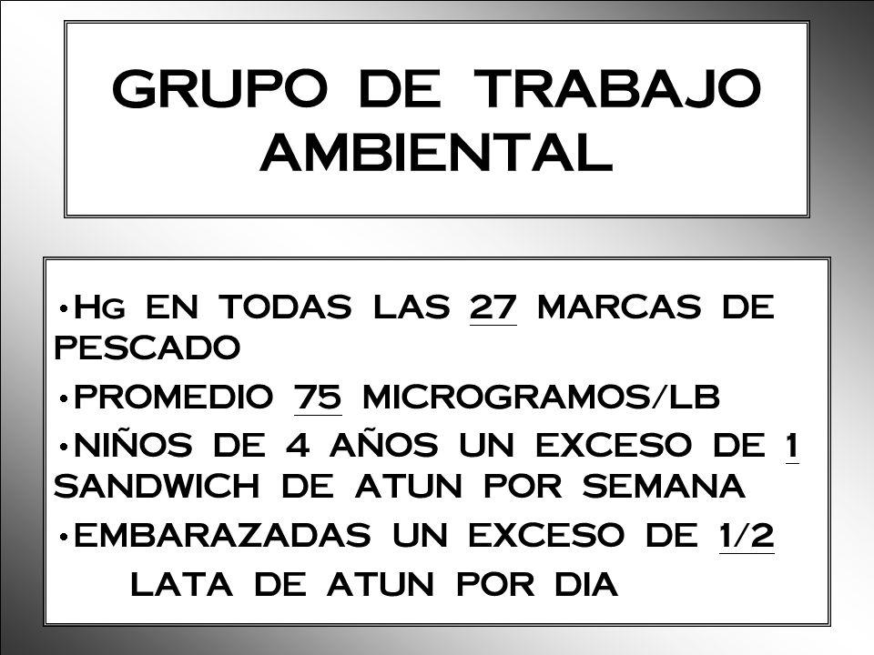 GRUPO DE TRABAJO AMBIENTAL Hg EN TODAS LAS 27 MARCAS DE PESCADO PROMEDIO 75 MICROGRAMOS/LB NIÑOS DE 4 AÑOS UN EXCESO DE 1 SANDWICH DE ATUN POR SEMANA