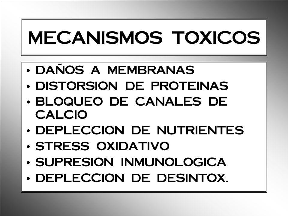 MECANISMOS TOXICOS DAÑOS A MEMBRANAS DISTORSION DE PROTEINAS BLOQUEO DE CANALES DE CALCIO DEPLECCION DE NUTRIENTES STRESS OXIDATIVO SUPRESION INMUNOLO