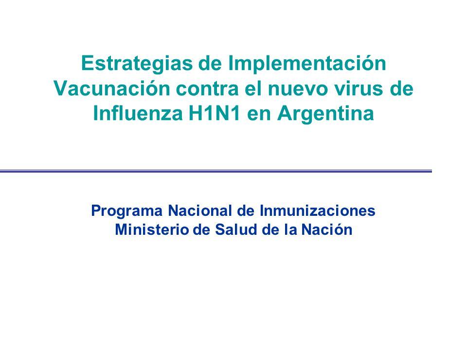 Recomendaciones CONAIN Objetivo Vacunación contra el nuevo virus de Influenza H1N1 en Argentina: –Mantener el funcionamiento del sistema de salud –Disminuir la mortalidad