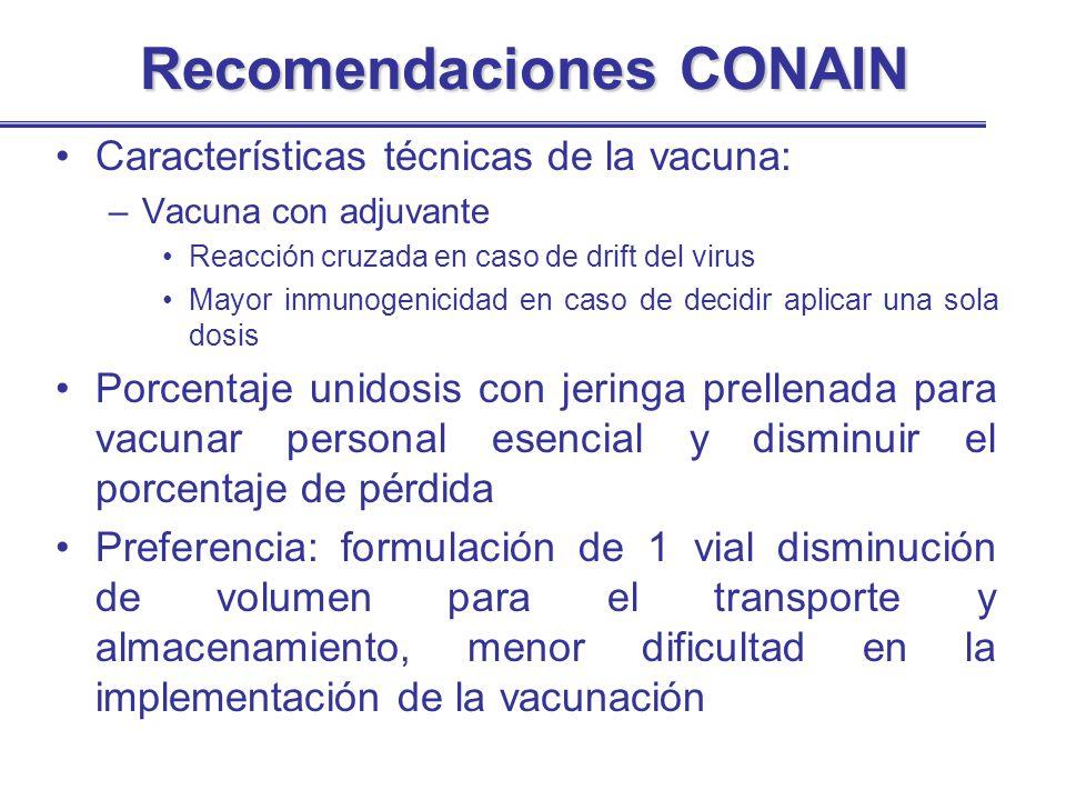 Recomendaciones CONAIN Características técnicas de la vacuna: –Vacuna con adjuvante Reacción cruzada en caso de drift del virus Mayor inmunogenicidad