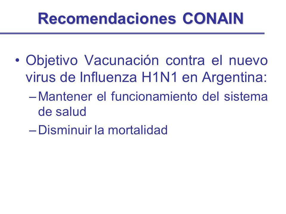Recomendaciones CONAIN Objetivo Vacunación contra el nuevo virus de Influenza H1N1 en Argentina: –Mantener el funcionamiento del sistema de salud –Dis