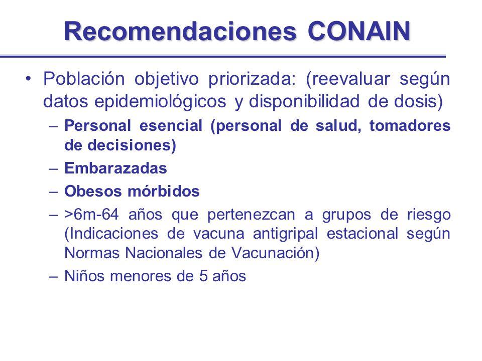 Recomendaciones CONAIN Población objetivo priorizada: (reevaluar según datos epidemiológicos y disponibilidad de dosis) –Personal esencial (personal d