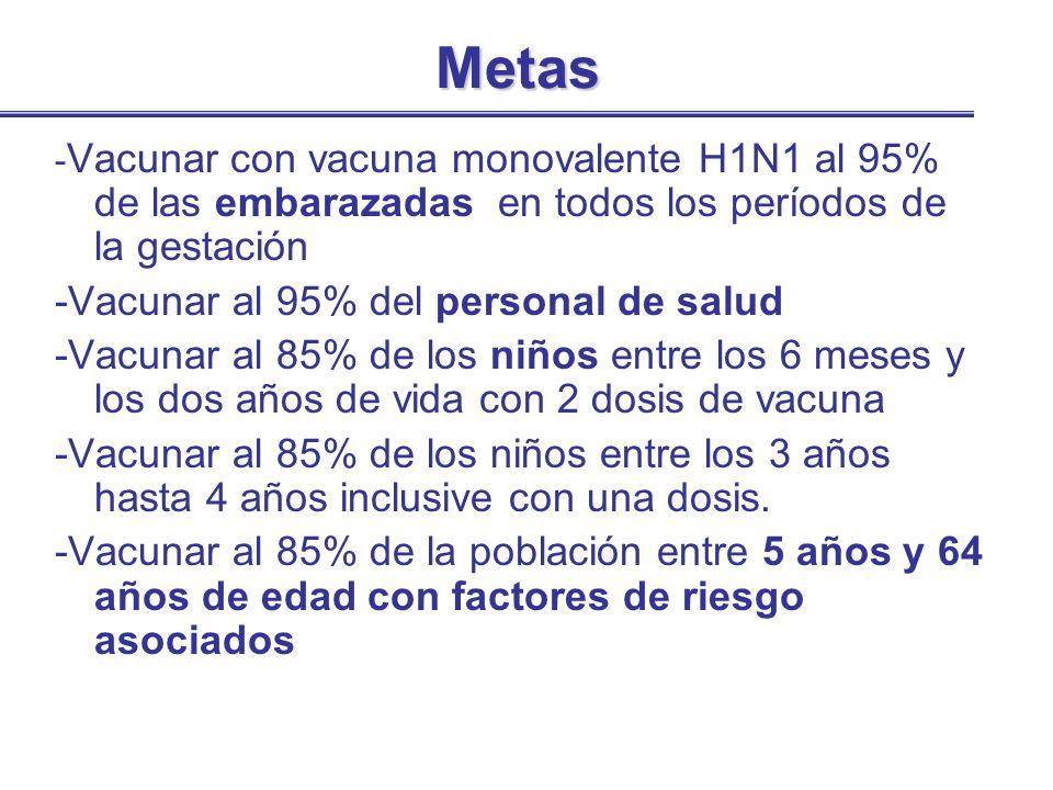 Metas - Vacunar con vacuna monovalente H1N1 al 95% de las embarazadas en todos los períodos de la gestación -Vacunar al 95% del personal de salud -Vac