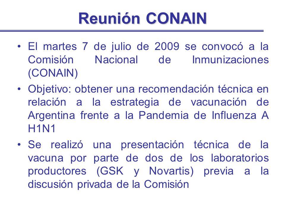 Reunión CONAIN El martes 7 de julio de 2009 se convocó a la Comisión Nacional de Inmunizaciones (CONAIN) Objetivo: obtener una recomendación técnica e