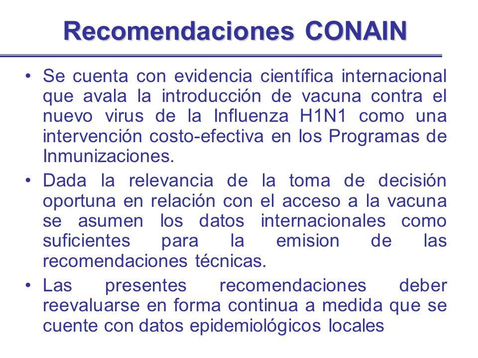 Recomendaciones CONAIN Se cuenta con evidencia científica internacional que avala la introducción de vacuna contra el nuevo virus de la Influenza H1N1