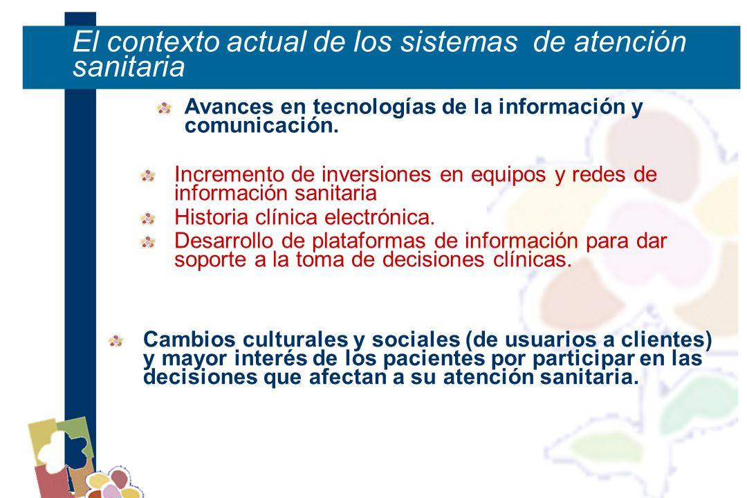 El contexto actual de los sistemas de atención sanitaria Avances en tecnologías de la información y comunicación.