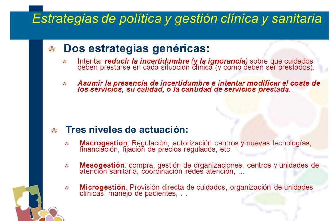 Tres niveles de actuación: Macrogestión: Regulación, autorización centros y nuevas tecnologías, financiación, fijación de precios regulados, etc.