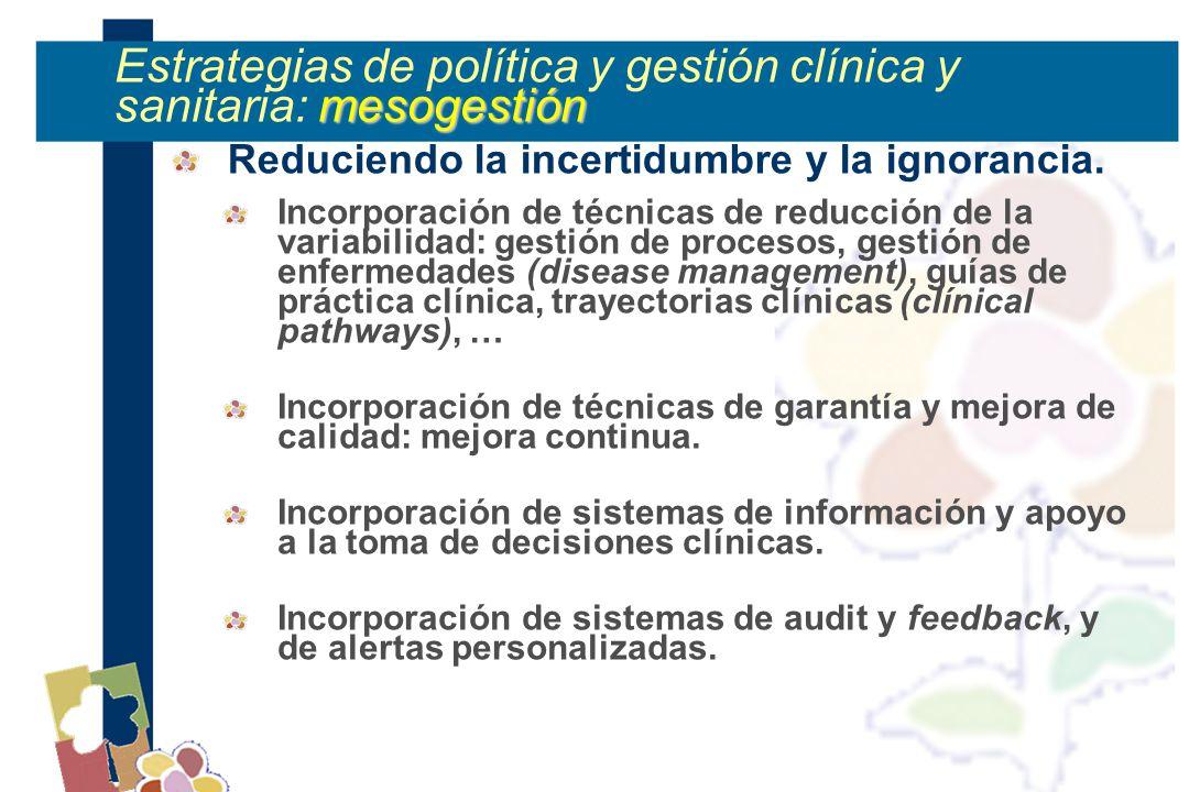 mesogestión Estrategias de política y gestión clínica y sanitaria: mesogestión Reduciendo la incertidumbre y la ignorancia.