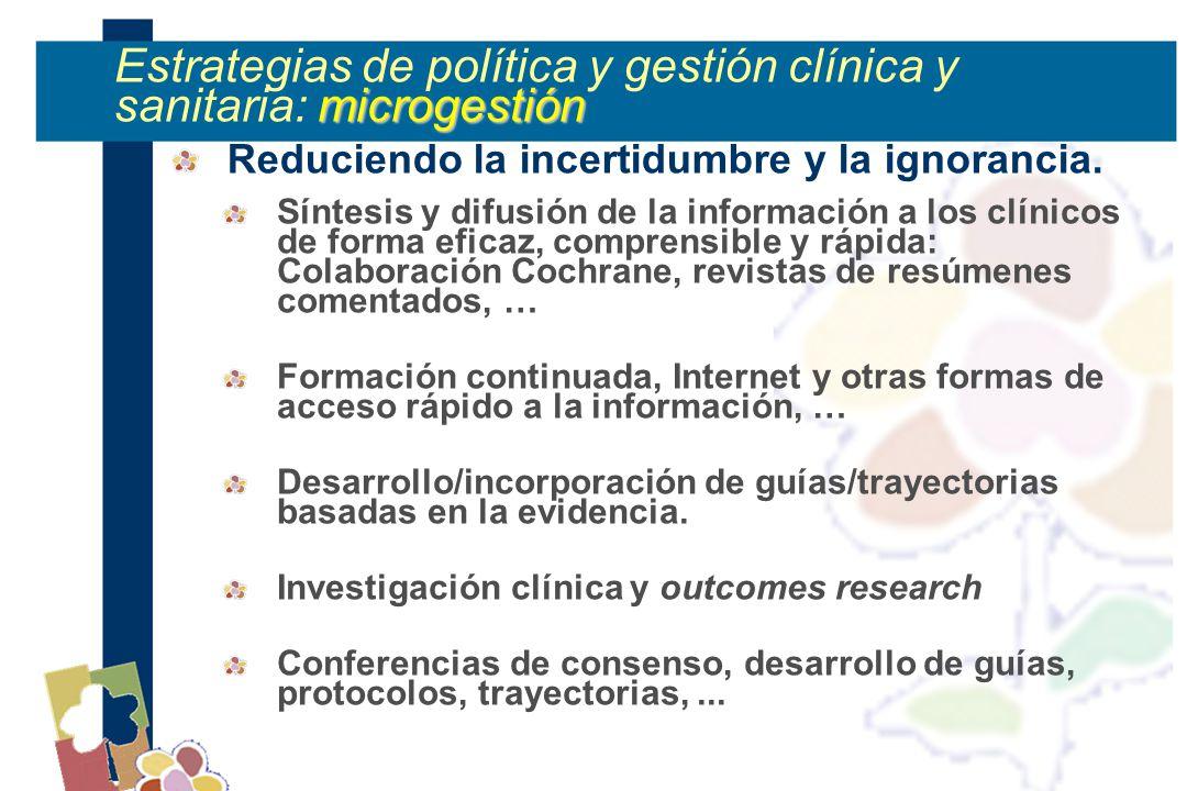 microgestión Estrategias de política y gestión clínica y sanitaria: microgestión Reduciendo la incertidumbre y la ignorancia.