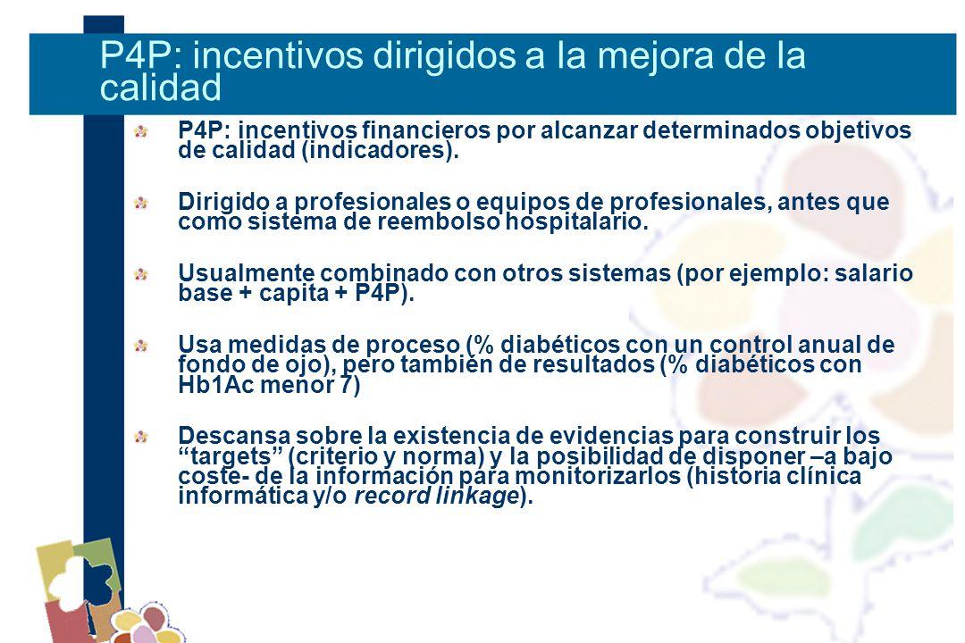 P4P: incentivos financieros por alcanzar determinados objetivos de calidad (indicadores).