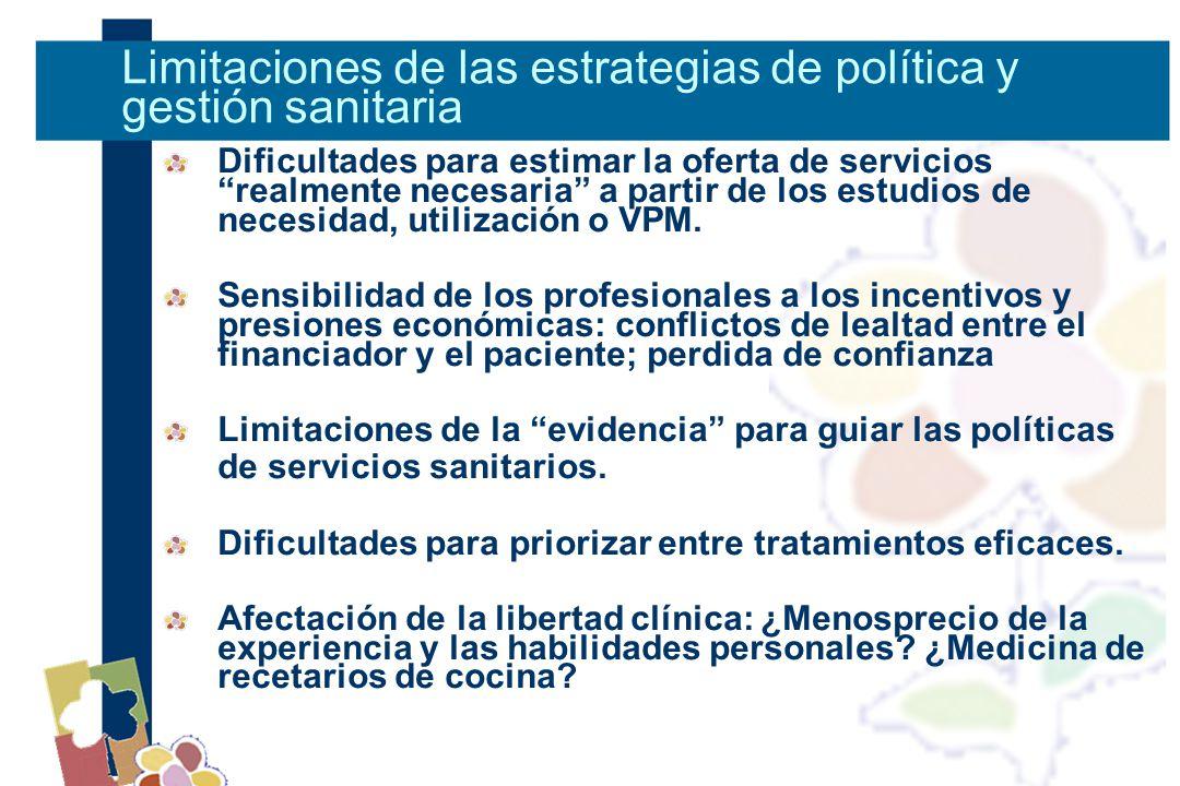 Dificultades para estimar la oferta de servicios realmente necesaria a partir de los estudios de necesidad, utilización o VPM.