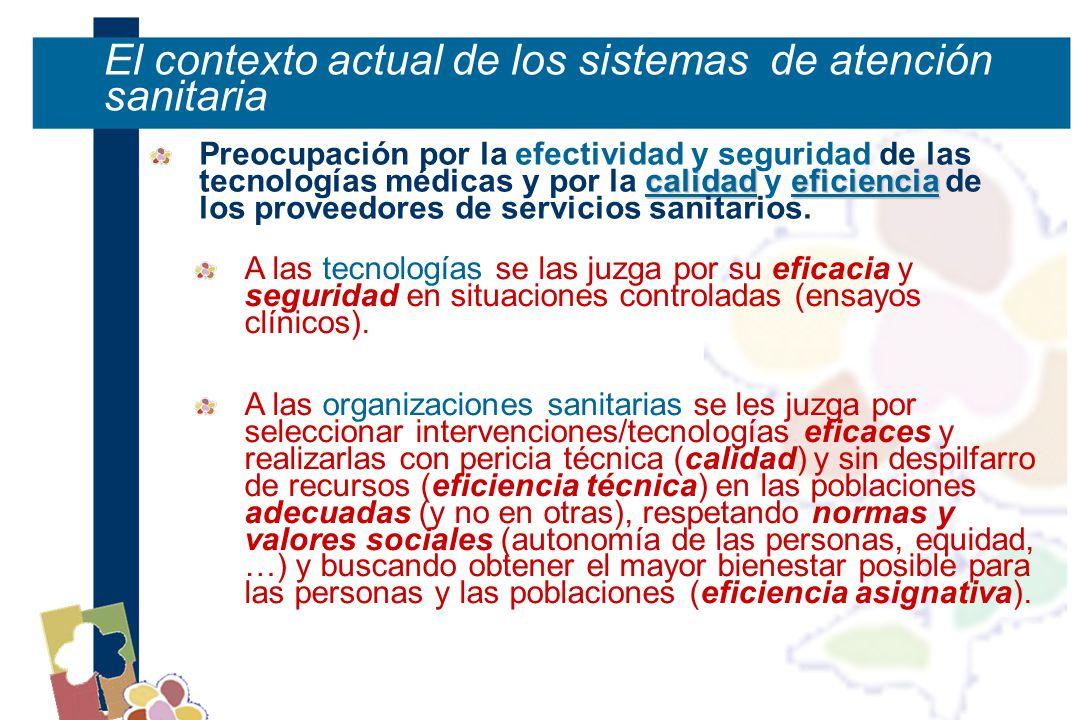 El contexto actual de los sistemas de atención sanitaria calidadeficiencia Preocupación por la efectividad y seguridad de las tecnologías médicas y por la calidad y eficiencia de los proveedores de servicios sanitarios.