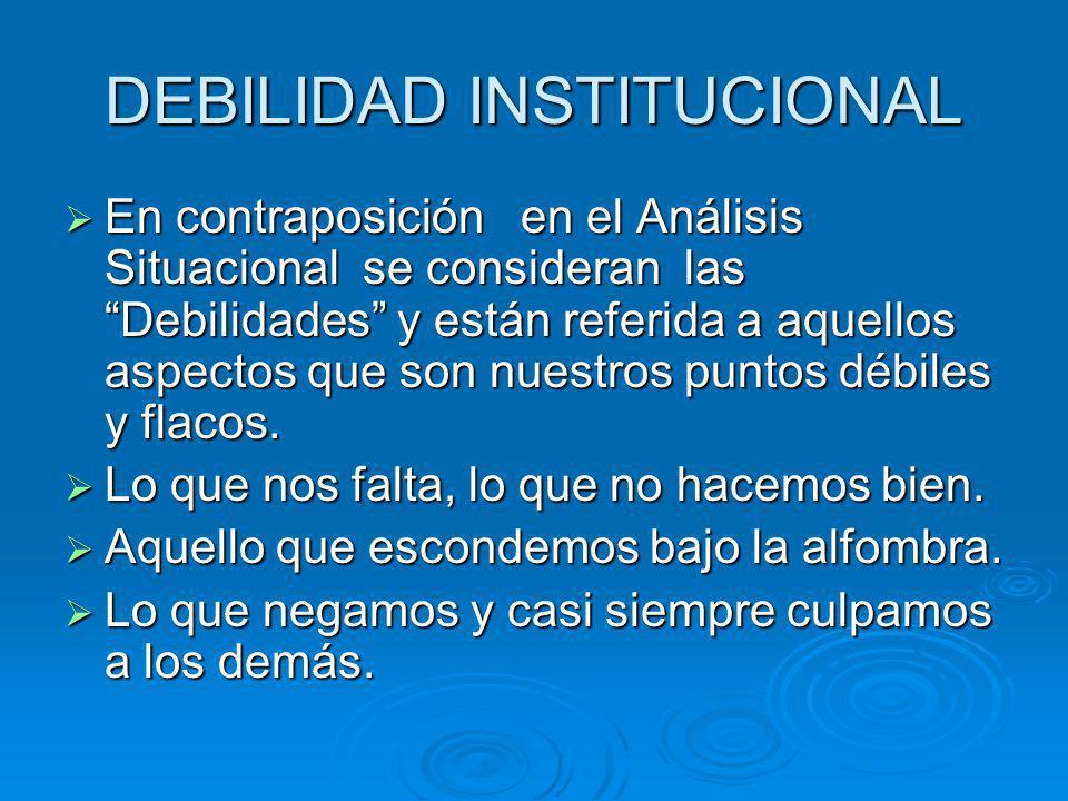 DEBILIDAD INSTITUCIONAL En contraposición en el Análisis Situacional se consideran las Debilidades y están referida a aquellos aspectos que son nuestr