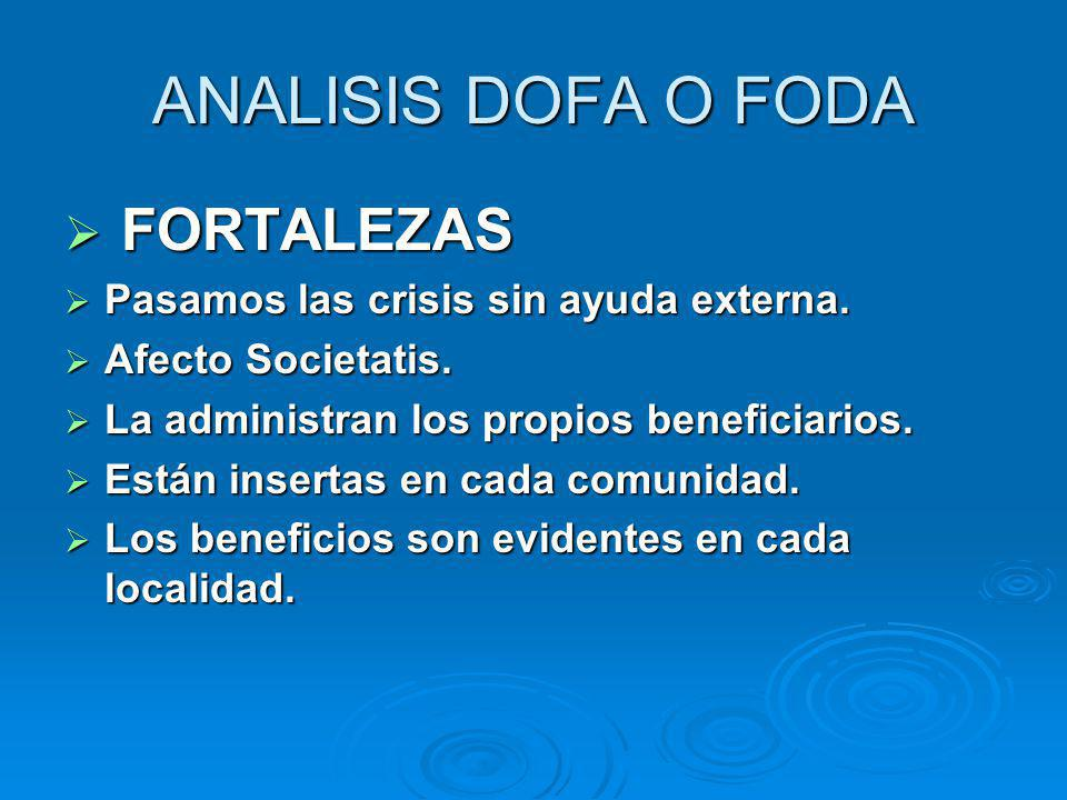 ANALISIS DOFA O FODA F FORTALEZAS Pasamos las crisis sin ayuda externa. Afecto Societatis. La administran los propios beneficiarios. Están insertas en