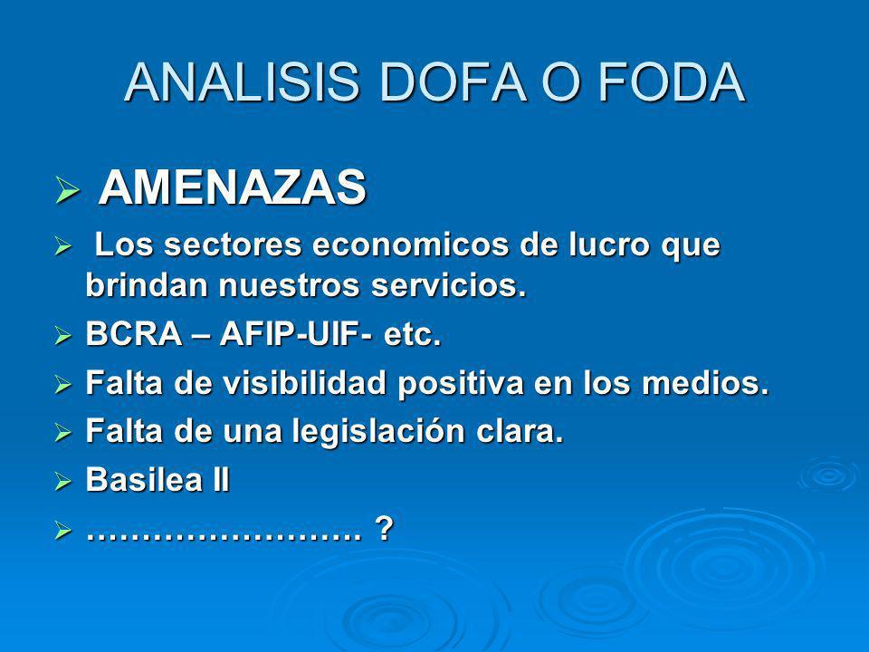 A AMENAZAS L Los sectores economicos de lucro que brindan nuestros servicios. BCRA – AFIP-UIF- etc. Falta de visibilidad positiva en los medios. Falta