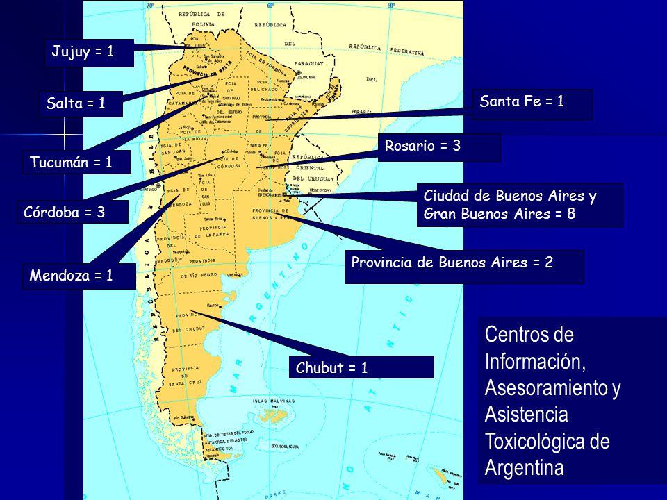 Mendoza = 1 Córdoba = 3 Santa Fe = 1 Rosario = 3 Chubut = 1 Ciudad de Buenos Aires y Gran Buenos Aires = 8 Provincia de Buenos Aires = 2 Salta = 1 Tuc