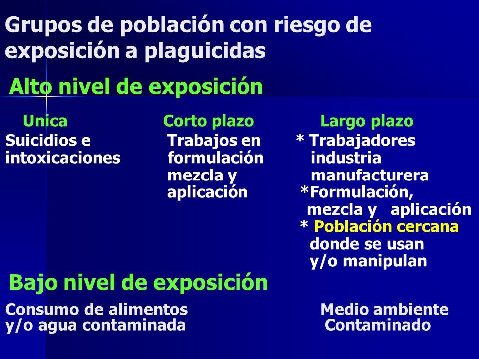 Grupos de población con riesgo de exposición a plaguicidas Alto nivel de exposición UnicaCorto plazoLargo plazo Suicidios e Trabajos en * Trabajadores