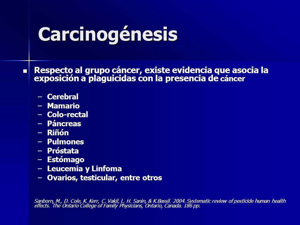 Carcinogénesis Respecto al grupo cáncer, existe evidencia que asocia la exposición a plaguicidas con la presencia de cáncer – –Cerebral – –Mamario – –