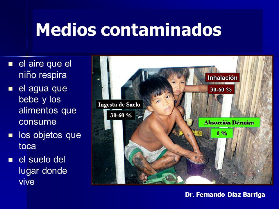 Medios contaminados el aire que el ni ñ o respira el agua que bebe y los alimentos que consume los objetos que toca el suelo del lugar donde vive Dr.