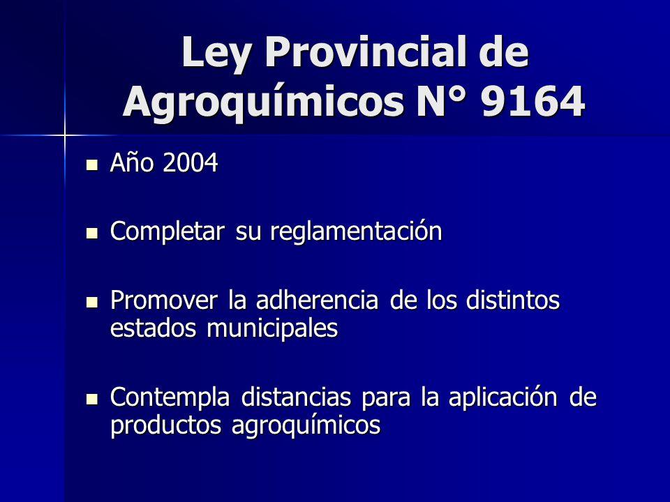 Ley Provincial de Agroquímicos N° 9164 Año 2004 Año 2004 Completar su reglamentación Completar su reglamentación Promover la adherencia de los distint