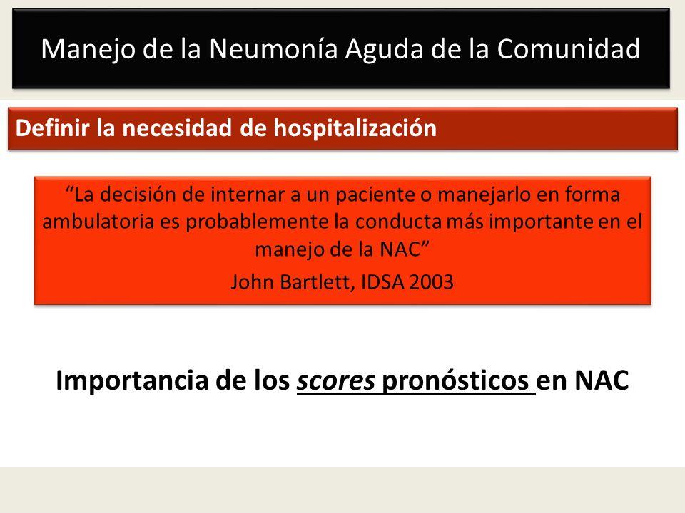 Manejo de la Neumonía Aguda de la Comunidad Definir la necesidad de hospitalización Importancia de los scores pronósticos en NAC La decisión de intern