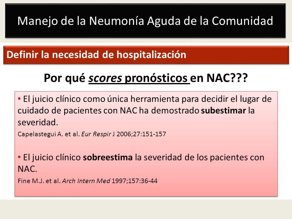 Manejo de la Neumonía Aguda de la Comunidad Definir la necesidad de hospitalización Por qué scores pronósticos en NAC??? El juicio clínico como única