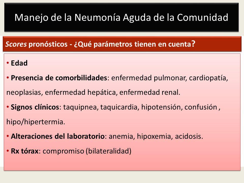 Manejo de la Neumonía Aguda de la Comunidad Scores pronósticos - ¿Qué parámetros tienen en cuenta ? Edad Presencia de comorbilidades: enfermedad pulmo
