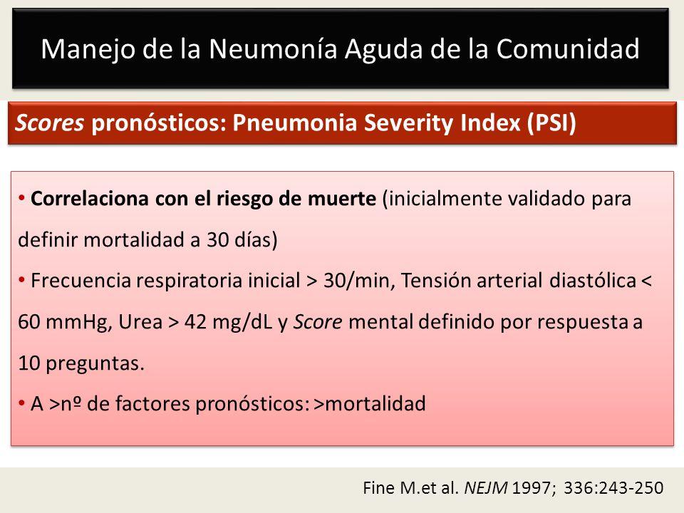 Manejo de la Neumonía Aguda de la Comunidad Scores pronósticos: Pneumonia Severity Index (PSI) Correlaciona con el riesgo de muerte (inicialmente vali