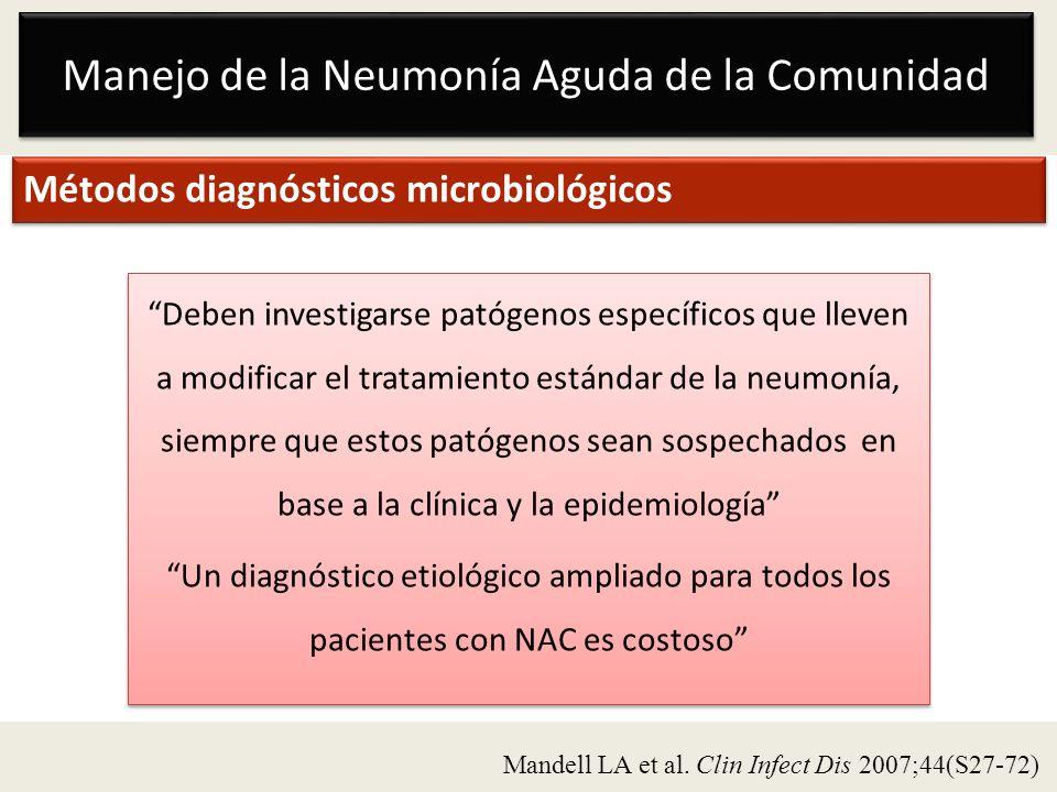 Manejo de la Neumonía Aguda de la Comunidad Métodos diagnósticos microbiológicos Deben investigarse patógenos específicos que lleven a modificar el tr