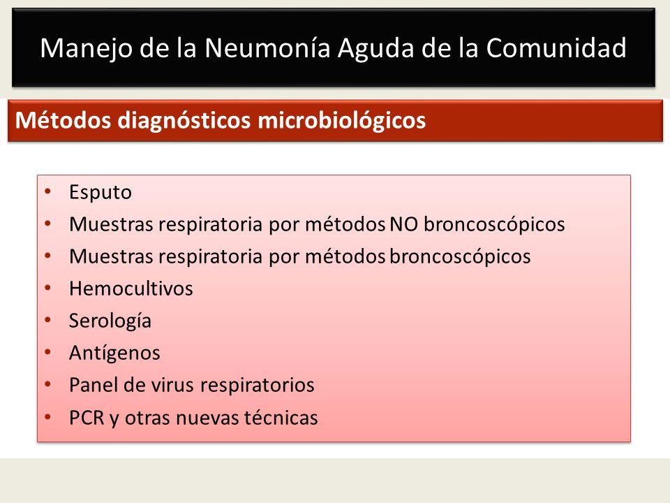 Manejo de la Neumonía Aguda de la Comunidad Métodos diagnósticos microbiológicos Esputo Muestras respiratoria por métodos NO broncoscópicos Muestras r