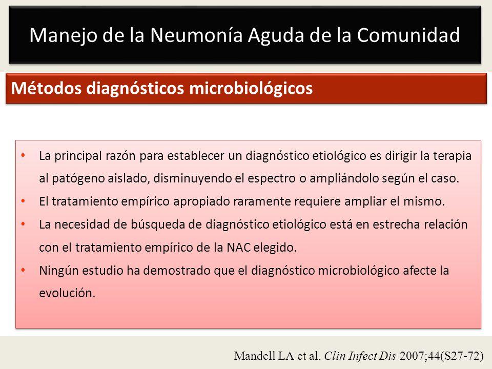 Manejo de la Neumonía Aguda de la Comunidad Métodos diagnósticos microbiológicos La principal razón para establecer un diagnóstico etiológico es dirig