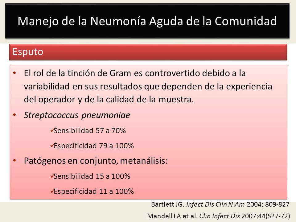 Manejo de la Neumonía Aguda de la Comunidad Esputo Mandell LA et al. Clin Infect Dis 2007;44(S27-72) El rol de la tinción de Gram es controvertido deb