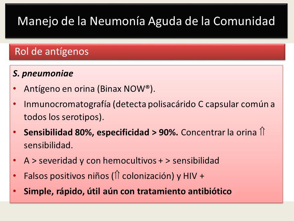 Manejo de la Neumonía Aguda de la Comunidad Rol de antígenos S. pneumoniae Antígeno en orina (Binax NOW®). Inmunocromatografía (detecta polisacárido C