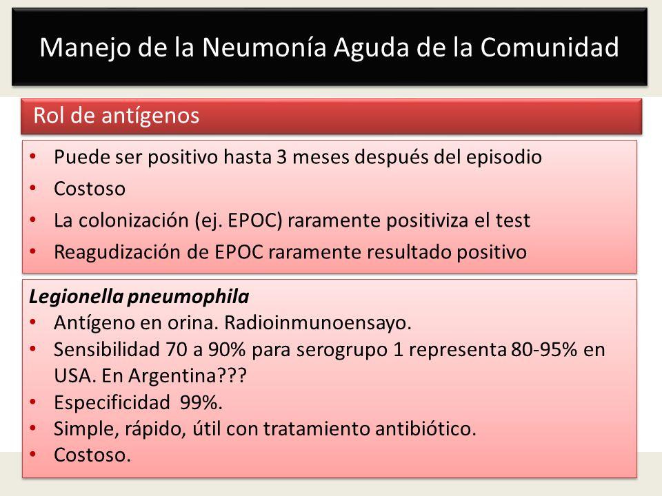 Manejo de la Neumonía Aguda de la Comunidad Rol de antígenos Puede ser positivo hasta 3 meses después del episodio Costoso La colonización (ej. EPOC)