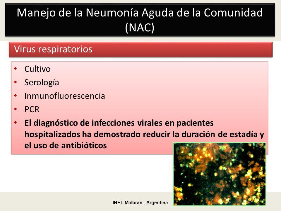 Manejo de la Neumonía Aguda de la Comunidad (NAC) Virus respiratorios Cultivo Serología Inmunofluorescencia PCR El diagnóstico de infecciones virales