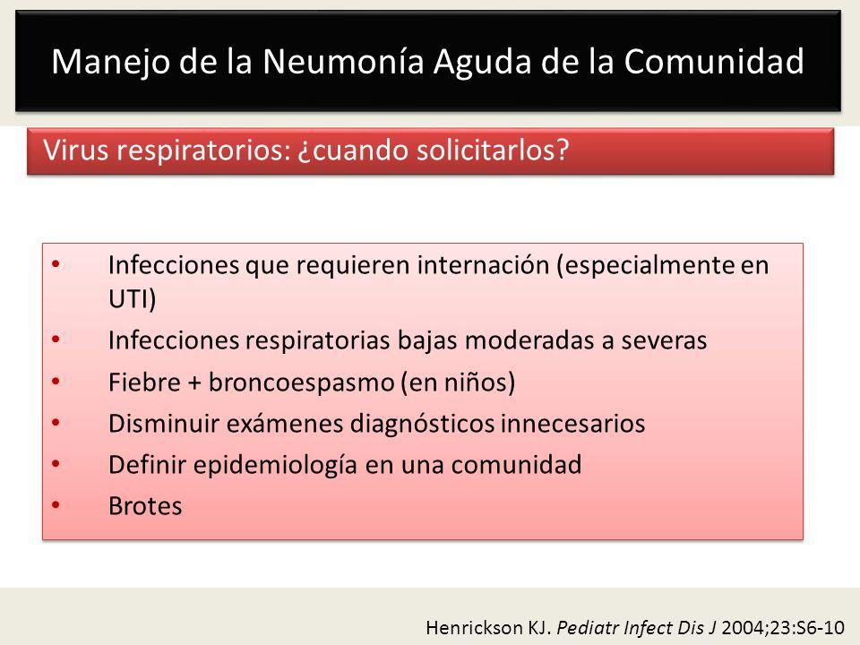 Manejo de la Neumonía Aguda de la Comunidad Virus respiratorios: ¿cuando solicitarlos? Infecciones que requieren internación (especialmente en UTI) In