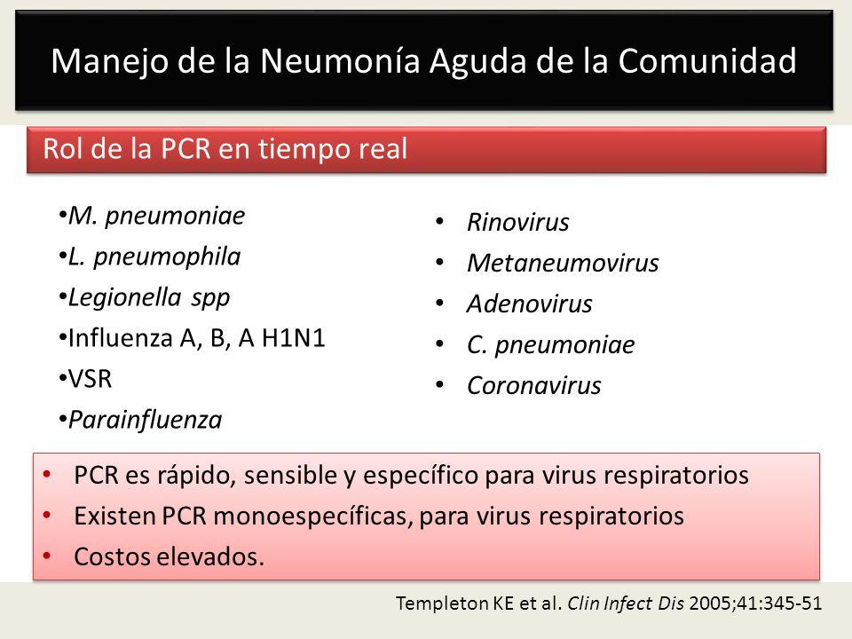 Manejo de la Neumonía Aguda de la Comunidad Rol de la PCR en tiempo real M. pneumoniae L. pneumophila Legionella spp Influenza A, B, A H1N1 VSR Parain