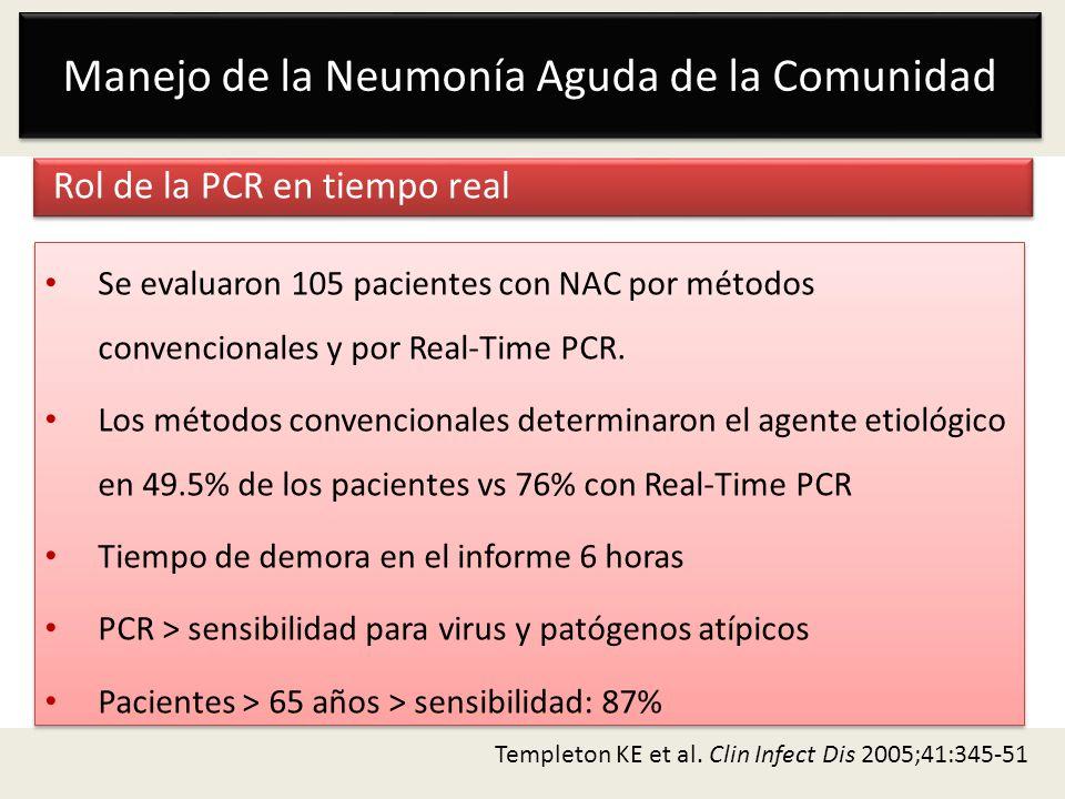 Manejo de la Neumonía Aguda de la Comunidad Rol de la PCR en tiempo real Templeton KE et al. Clin Infect Dis 2005;41:345-51 Se evaluaron 105 pacientes