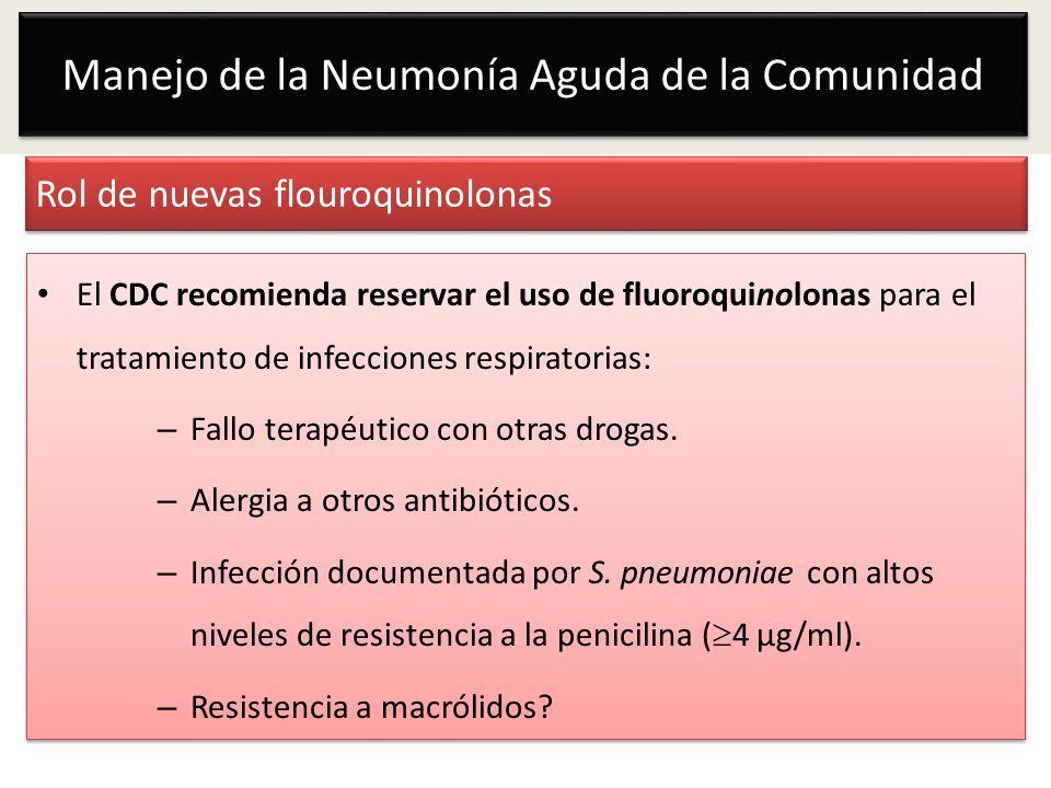 Rol de nuevas flouroquinolonas El CDC recomienda reservar el uso de fluoroquinolonas para el tratamiento de infecciones respiratorias: – Fallo terapéu